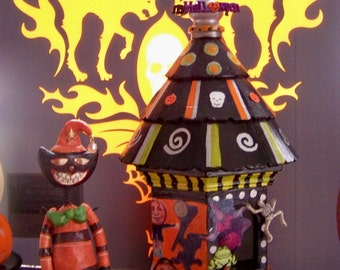 Whimsical Halloween Birdhouse with vintage prim images