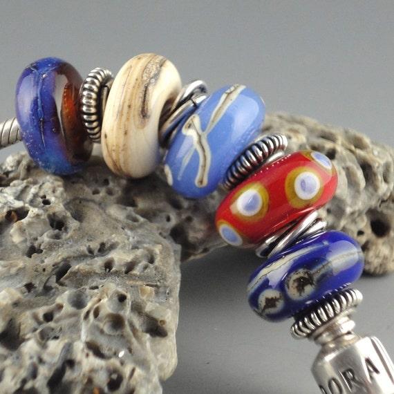 Handmade Lampwork Glass Slider Beads 5 Bead Set Spirit