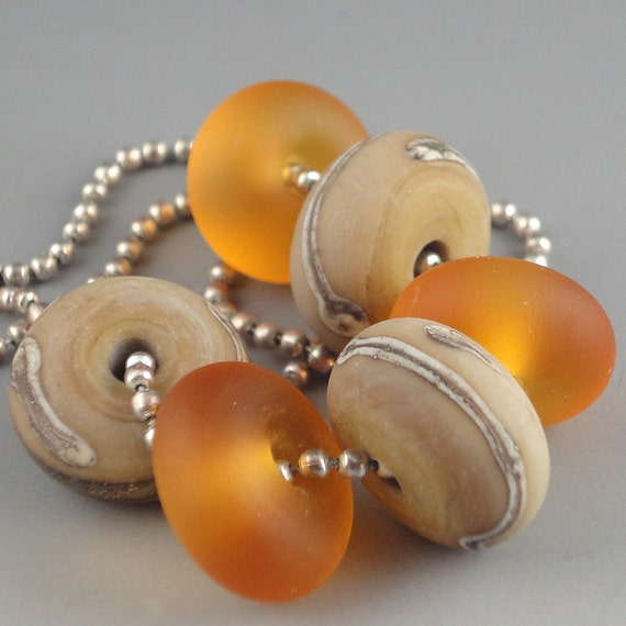Handmade Lampwork Glass Beads Beach Sand and Honey 6 bead Bracelet set