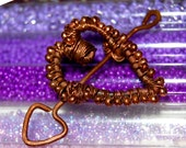 Valentines Copper Wirewrapped Arrow Through The Heart Pendant