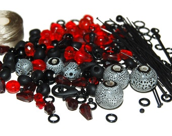 Red and Black Bead and Finding Mix