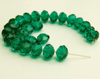 Faceted Crystal Rondelles 10 X 7mm in Kelly Green
