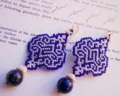Arabesque in Blue and White: OoaK Keshi Pearl Earrings with Lapis Lazuli Gemstones - Beadmatrix