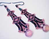 Raspberry Sorbet Art Deco Column Earrings with Pink Chalcedony handwoven in the Native American Brick Stitch