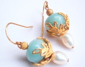 Vintage Filigree Gold Leaf Earrings with White Pearls and Amazonite