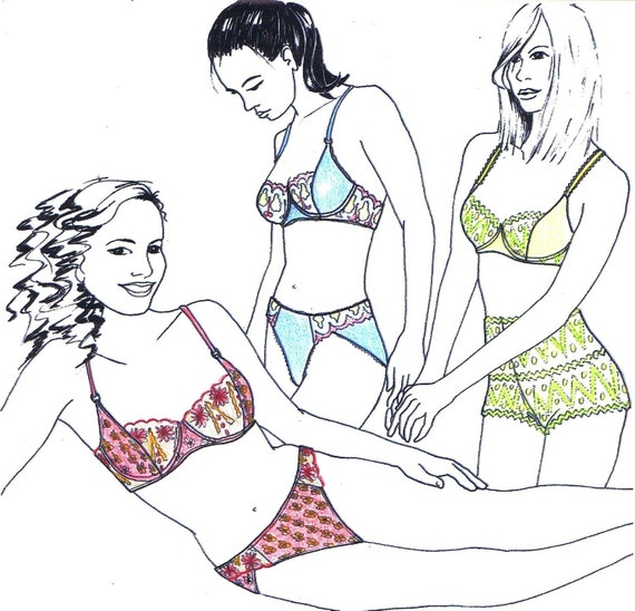 Sewing pattern MIX30 with Bra Pantie & French knickers by Merckwaerdigh