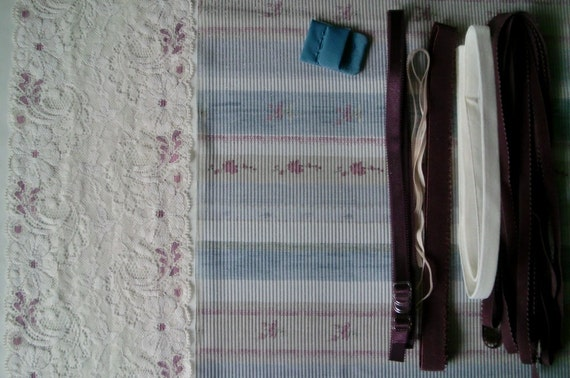 Fabric and notions Antique Stripes for 1 BRA and BRIEF by Merckwaerdigh