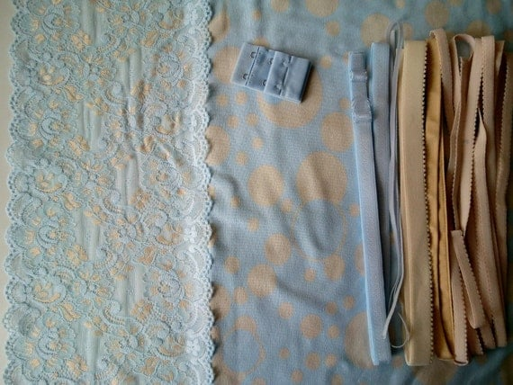 Cotton Fabric and notions Blue with Nude Dots for 1 BRA and BRIEF by Merckwaerdigh