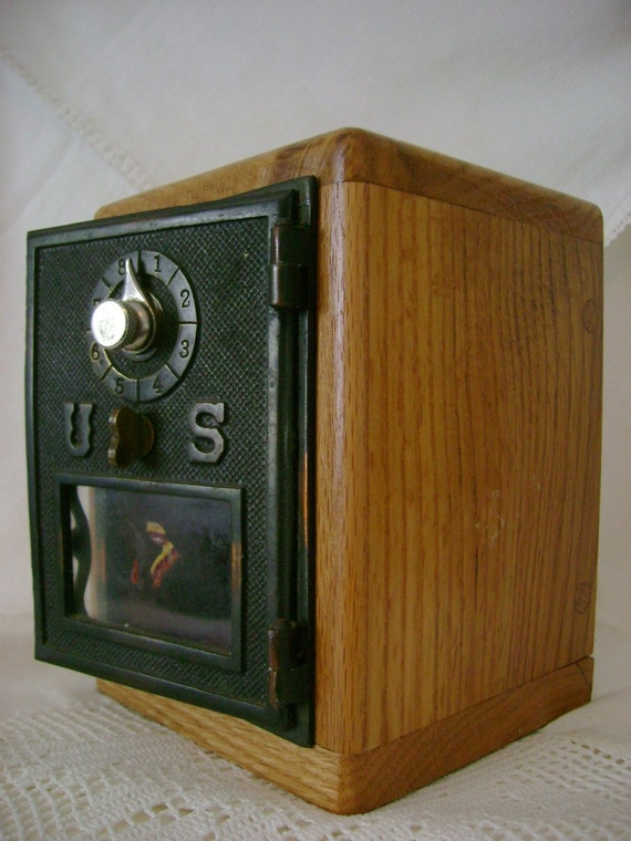 Post Office Bank from Vintage Brass PO Box Door Combination Lock - Great Wedding Party Gift