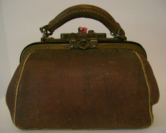 Vintage Steampunk Industrial Strength Leather Purse Doctor Bag with Locking Latch - I do like the lady with the alligator purse