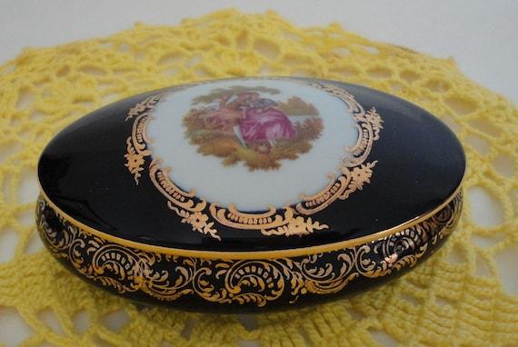 Vintage Limoges Castel Oval Trinket Box 22k Gold Trim By