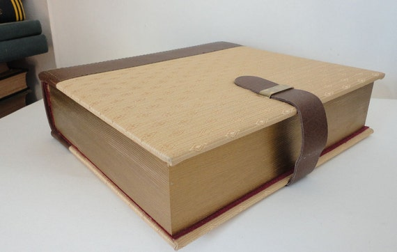 Hollow Book Executive Desk Stash Box Satin and Leather Keepsake Box Leather strap closure - large book box