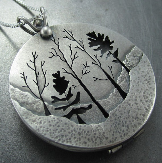 Silver Locket - Woodland Forest Silver Tree Locket by Beth Millner