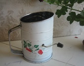 Vintage Flour Sifter with Strawberries
