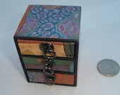 Small Box petite calico print three pull drawer  box for jewelry, beads, supplies, display, and shipping