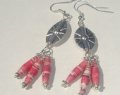 pink mini skinny upcycled handmade paper beads and metal starburst pierced dangle earrings