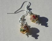 cloisenné gold floral pierced dangle handmade wire wrap earrings