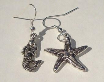 Pierced Earrings mermaid and starfish metal charm pierced dangle earrings