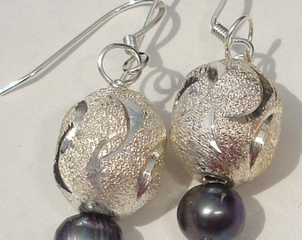 Peacock pearl and silver etched bead elegant hand made wire wrapped dangle pierced earrings