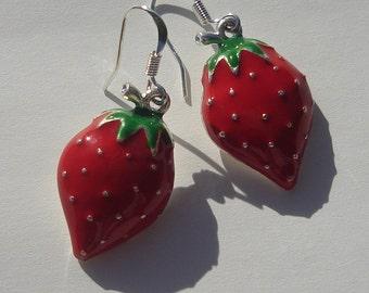 sweet summer strawberry pierced dangle hand made earrings