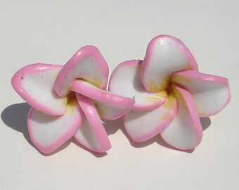 Plumeria Flower Pierced Earrings small pink with yellow and white  polymer clay plumeria PIERCED earrings