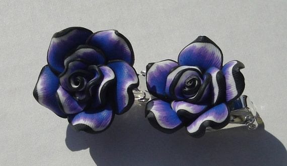 medium size purple black and white polymer clay rose clip on earrings