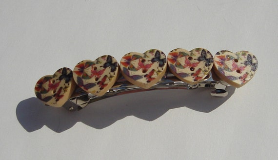 heart shaped wooden buttons with butterfly print hair barrette