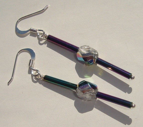 sparkle sticks glass tube beads and crystal bead pierced dangle hand made wire wrapped earrings