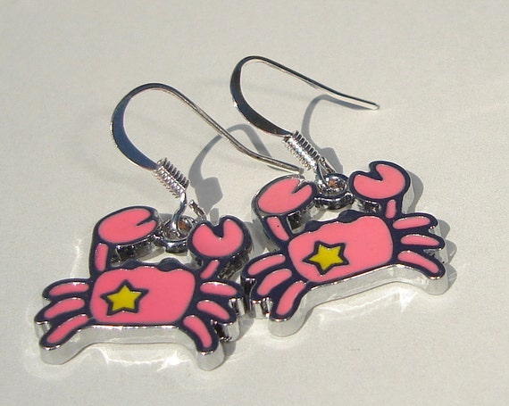 pink crab with yellow star enamel charm pierced dangle hand made earrings