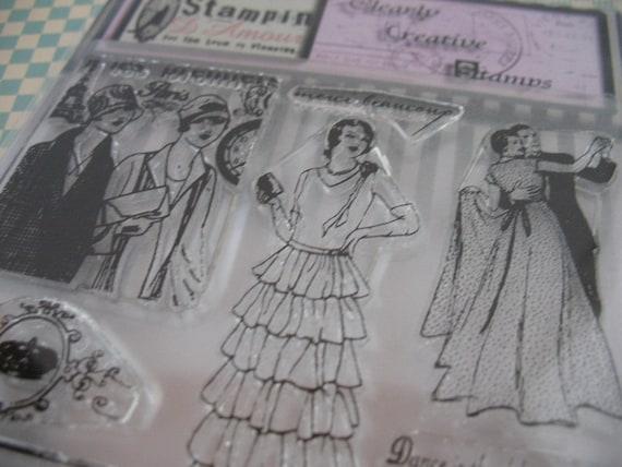 Vintage French Paris Ladies II ATC 6x4 Clear Stamp Set