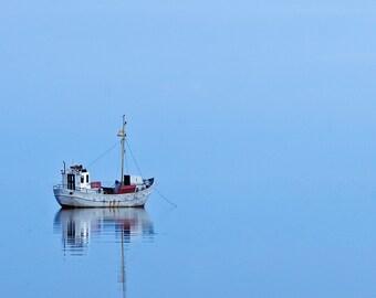 Nautical home decor - Ship in still waters - Blue sea wall art -  8x8 inches fine art print