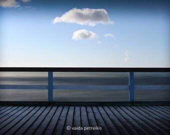 Stillness Blue wall decor 4x6 inches fine art photograph Signed edition Wooden bridge near the sea in blue tones Clear blue sky Seaside