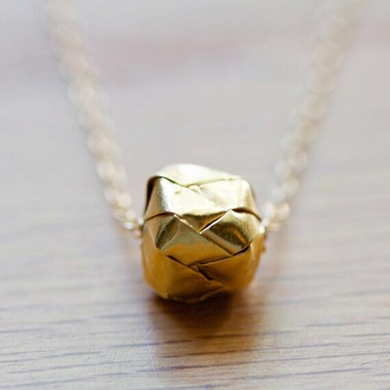 kareshi - modern gold origami necklace by elephantine