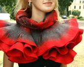 Felted wavy ruffled shawl scarf - Mist in the lace - Handmade wool and silk