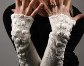 Fingerfull Warmers - Nuno Felted - White Fingerless Gloves -  Special Occasion