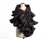 Elegant Grey Ruffle nuno felted shawl - Handmade silk and wool - Special Occasion