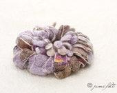 SPRING SALE -20% - Felted Brooch - Hand felted Joyful Dahlia Flower Brooch - White wool and violet brown silk mix - OOAK