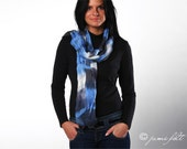 Multicolored wool and silk scarf - Sky and Ink Blue with white - Hand dyed batik