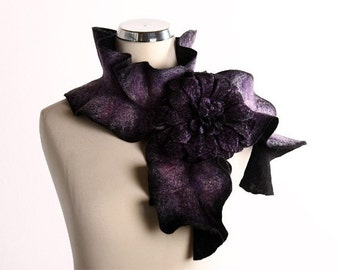Scarf Hand Felted Scarf  - Lilac black  Handmade