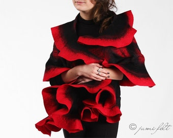 Red Felted Scarf - Wavy ruffled Shawl - Carmen passion - Handmade wool and silk