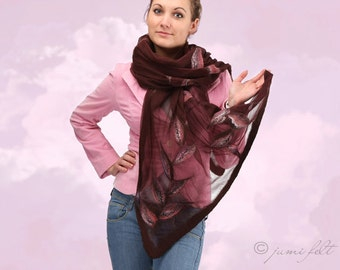 Felted Scarf - Burgundy gamma with leaves - Handmade - Silk and wool - Special Occasion