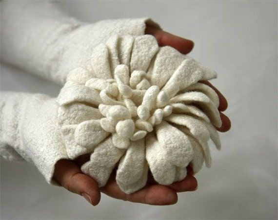 Hand felted Dahlia Flower - White - Special Occasion - ready to ship
