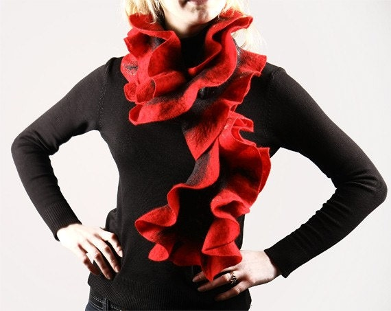 Hand felted ruffled scarf - Red and Black