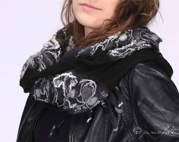 SALE - Shawl scarf felted - Elegant black linen and wool - Handmade - Wool and linen - Special Occasion