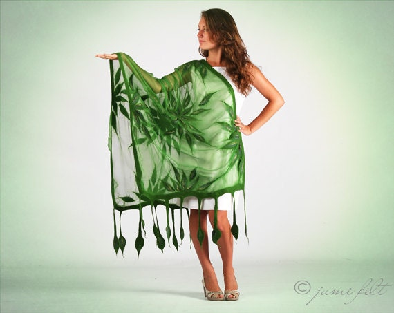 Shawl Nuno felted Scarf - Handmade wool and silk Green Spring Leaves - Special Occasion