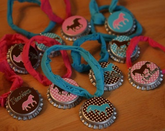 Brown and Pink Polka Dot Horse Pony Party Favor Stretchy Bracelet 12pk