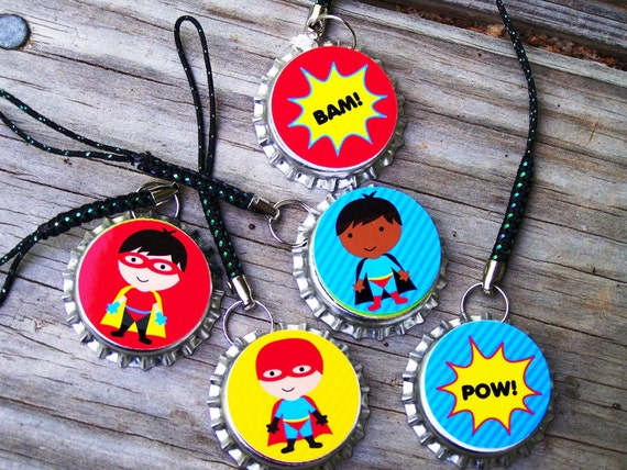 Super Hero Kids Boy Birthday Cellphone Backpack Electronic Charms 6pk Favors