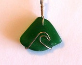 Wave Pendant in Sea Glass & Sterling