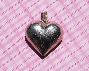 SALE: Large Vintage Etched Sterling Puffy Heart Pendant, FREE Shipping!