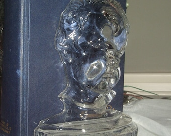 ON SALE - OLD CHILD'S FACE GLASS BOOK ENDS